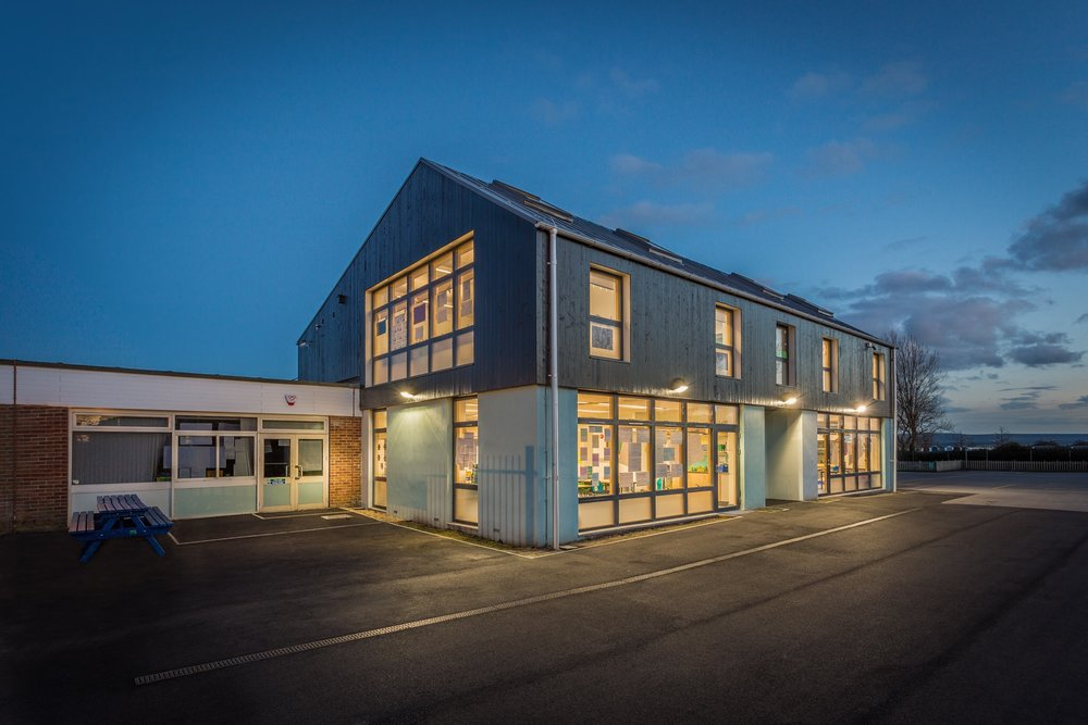 Hamworthy Park Junior School extension, Poole, Dorset, photographed for the architect and the client, the Borough of Poole. Blue hour architectural photography.