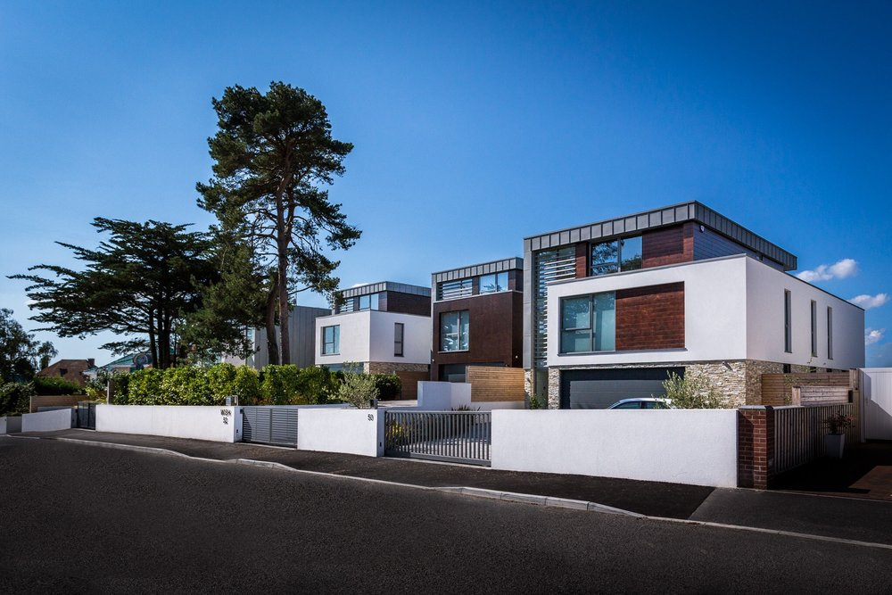 Construction product photography shoot in Poole, Dorset, for K-Rend. The white render on these buildings was the subject matter of this product shoot.