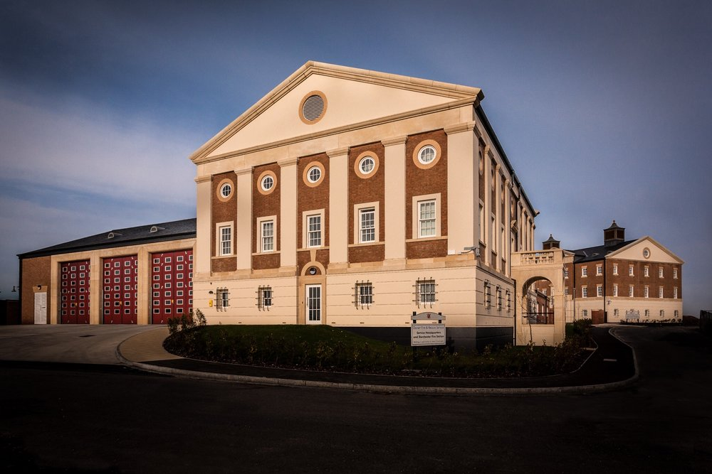 Dorchester Fire Station and Dorset Fire and Rescue HQ buildings, Poundbury, Dorchester, photographed for the construction company Morgan Sindall