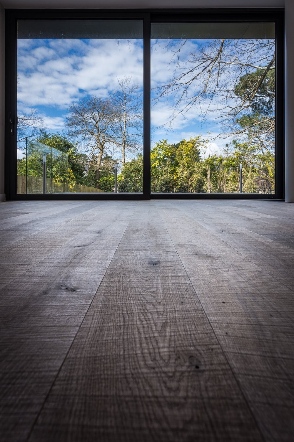 Window and floor - photography at low level in Poole in a new house. Interior photography in Dorset.