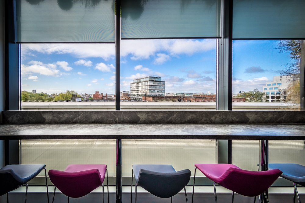 Guildhall Square, University of Southampton. A picture of the seating in the staff canteen.