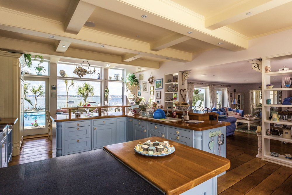 Kitchen with a sea view in Sandbanks, Poole, Dorset. Stylish Dorset living in this prime Sanbanks location property.