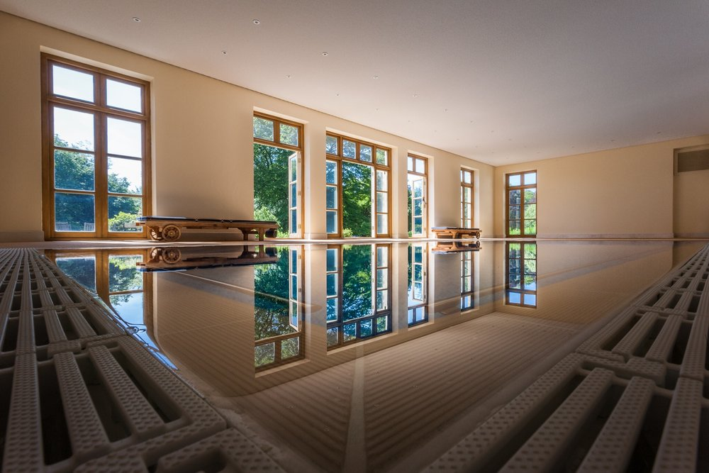 A private indoor swimming pool at a country residence in Dorset. Stunning country living in West Dorset.