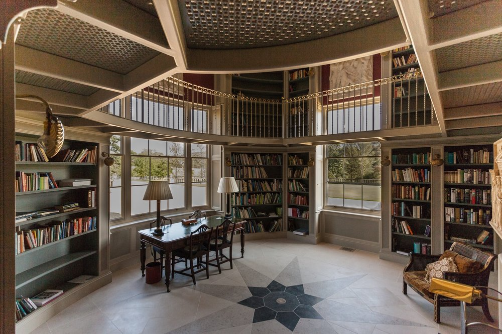 Chideock Manor library, a stunning new private library in Dorset. Lovely interior space with subtle, classic tones.