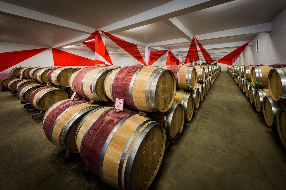 Art in a vineyard, Bordeaux, France. Great interior design.