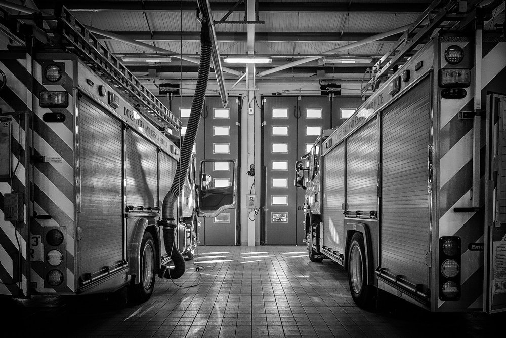 Fire appliances at Dorchester Fire Station.