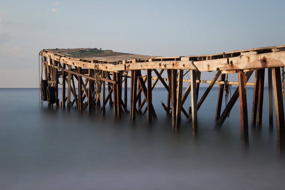 Picture of the wooden jetty, Nissaki Beach, Corfu, Greece