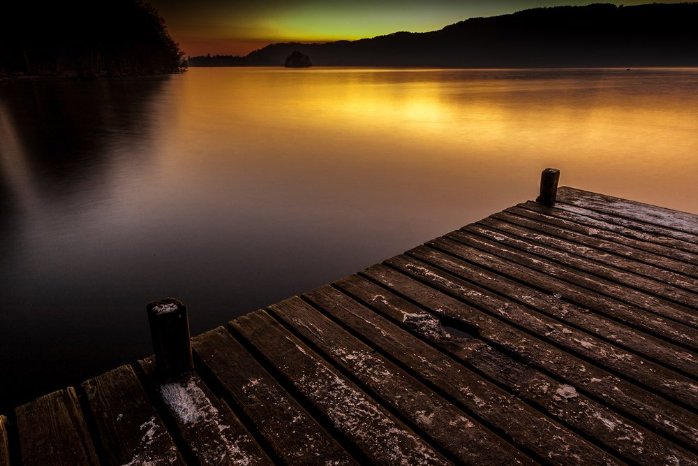 Lake Windermere at sunset - the original composition