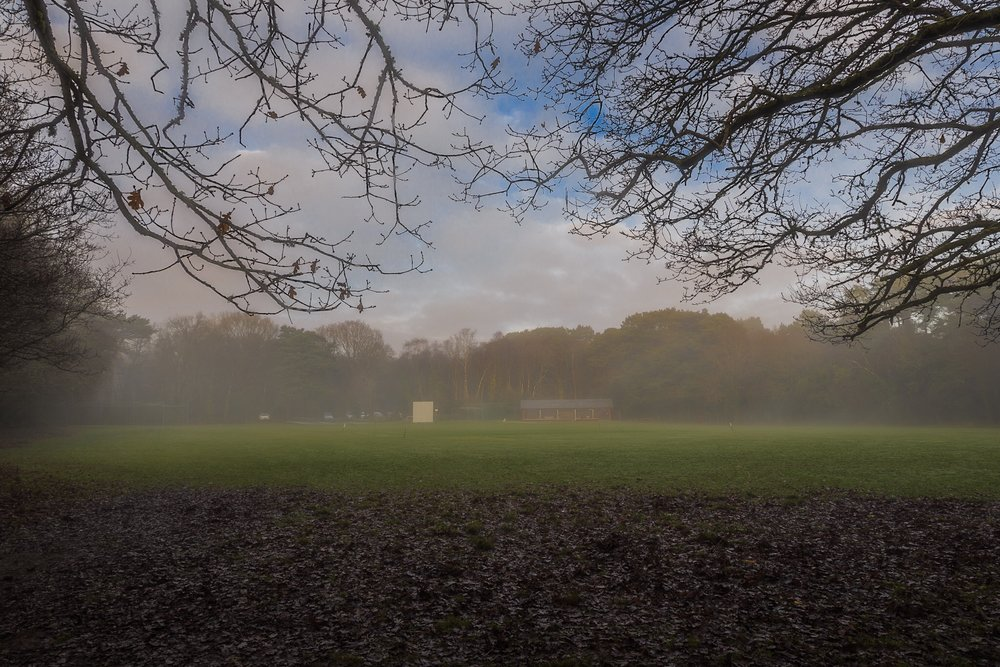 Broadstone Cricket Club in the mist