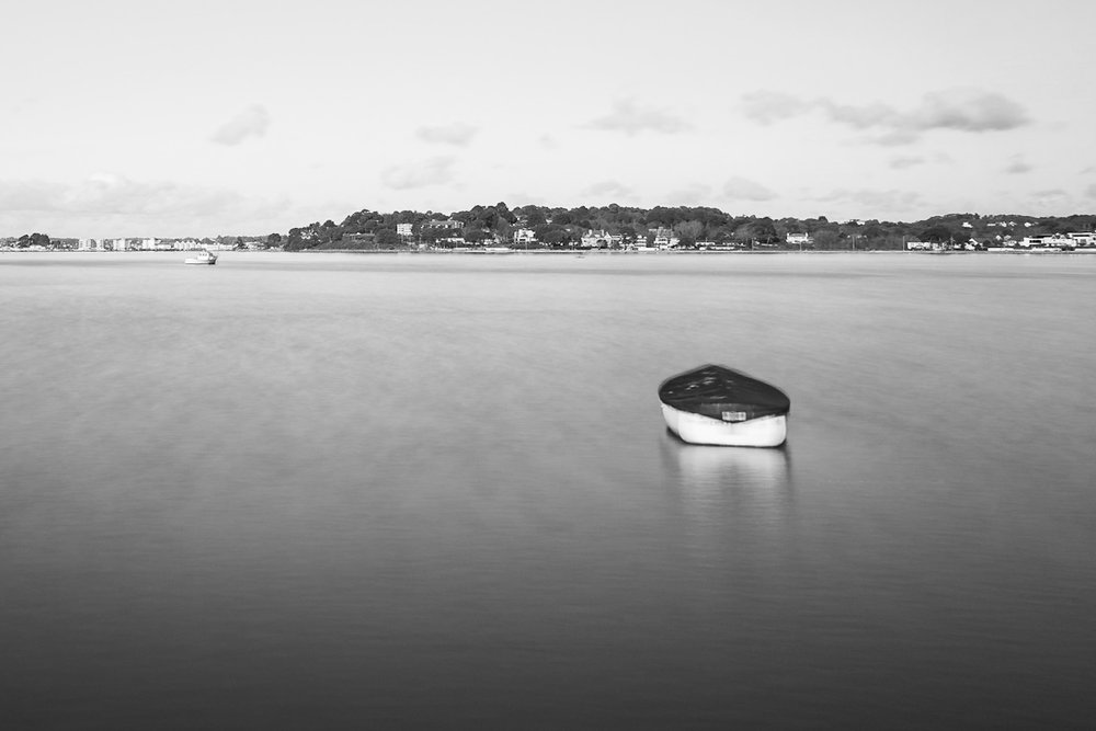 Black and white picture of a boat, Sandbanks, Dorset