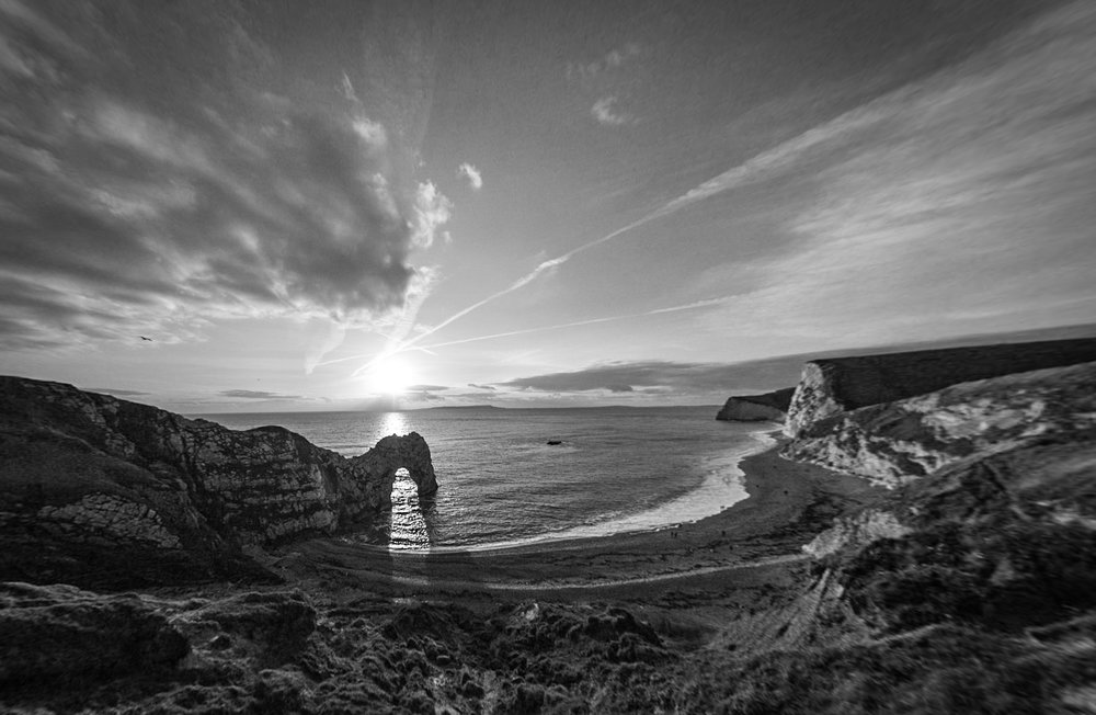 The mighty Durdle Door in black and white