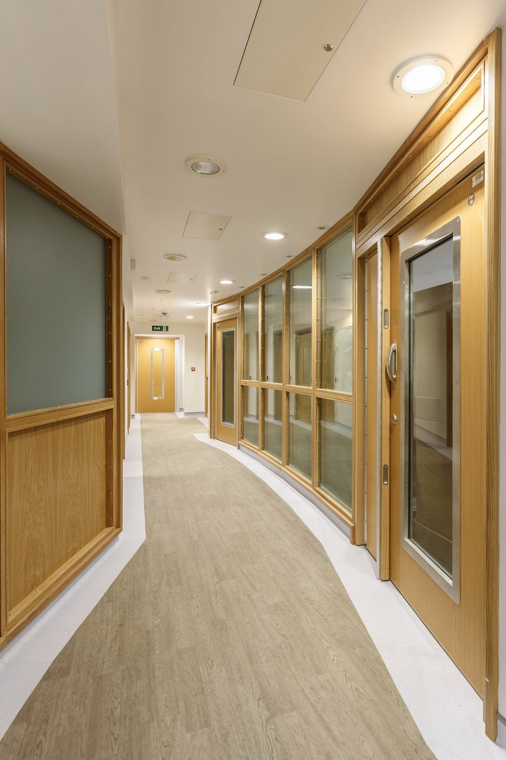 Another view of the corridor with the doors, frame and glazed screen