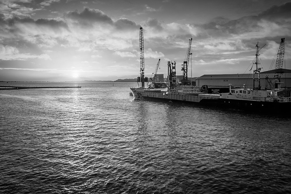 Sunrise at Poole Quay looking towards the Port of Poole
