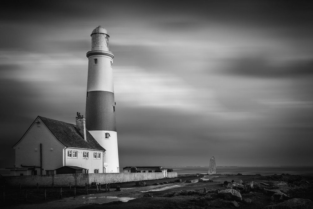 Picture Portland Bill Lighthouse in black and white