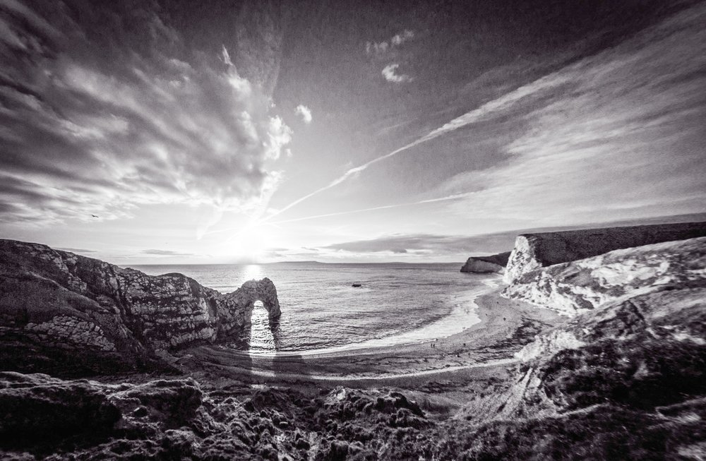 Picture of Durdle Door in black and white