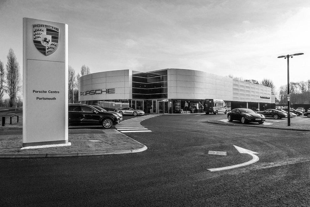 Black and white picture of Porsche Portsmouth