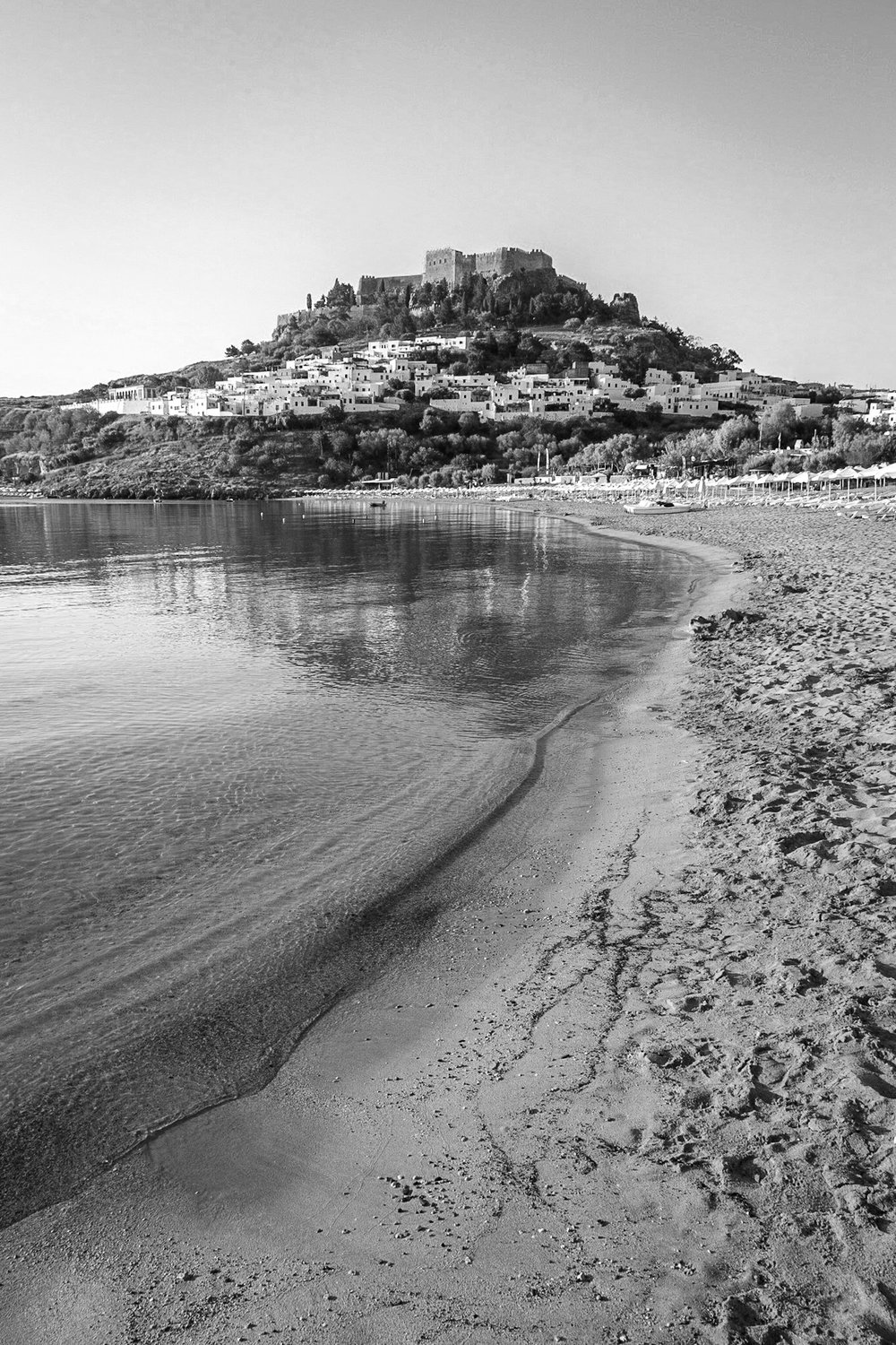 Picture of the Lindos Acropolis in black and white by Rick McEvoy travel photographer