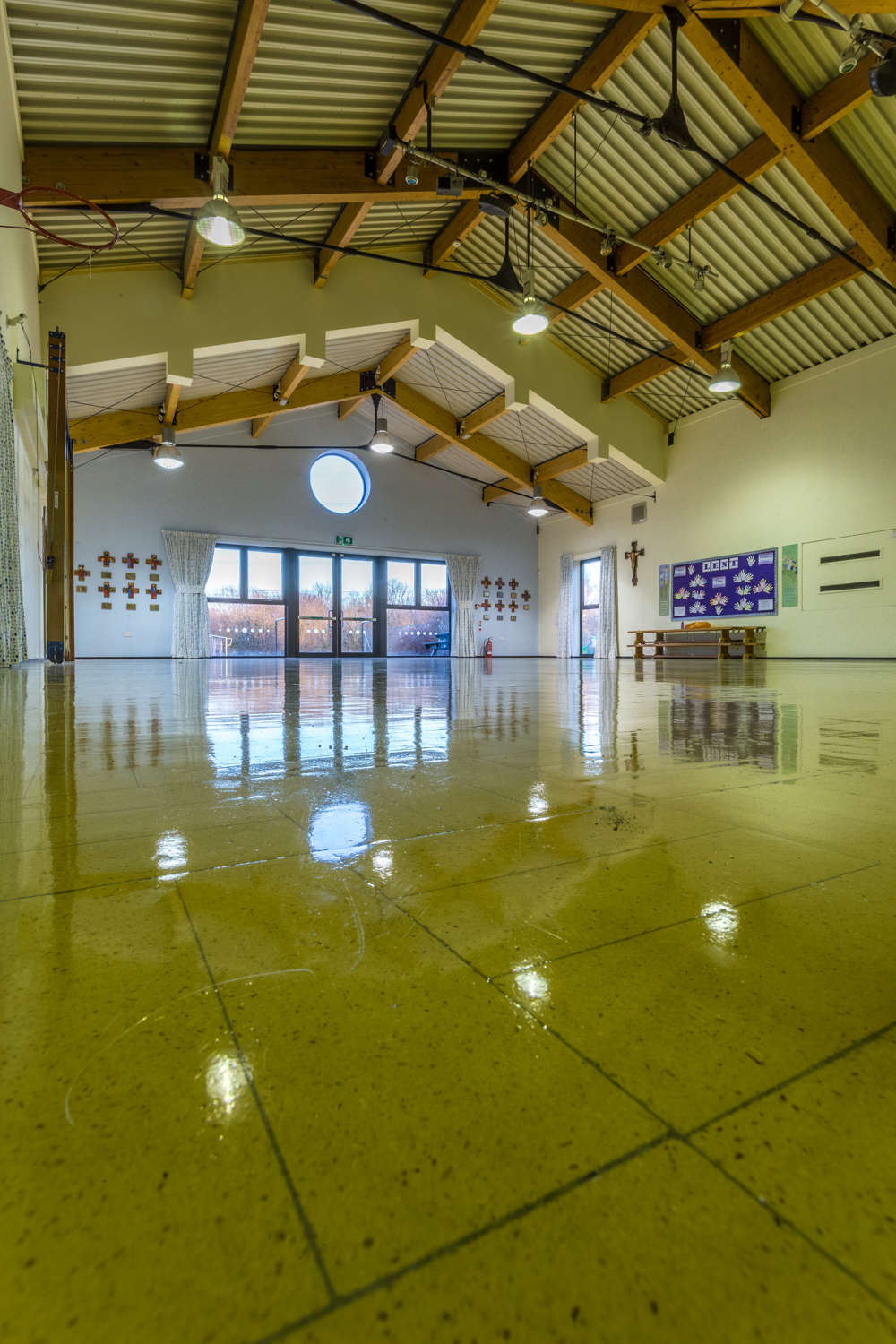 School hall extension by interior photographer Rick McEvoy