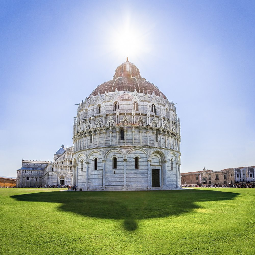Brighter version of the picture of the Battistero di San Giovanni In Pisa
