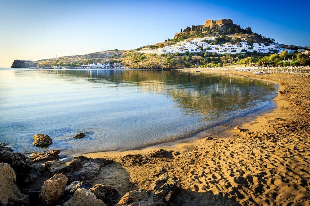 Lindos main beach by Rick McEvoy Travel Photographer
