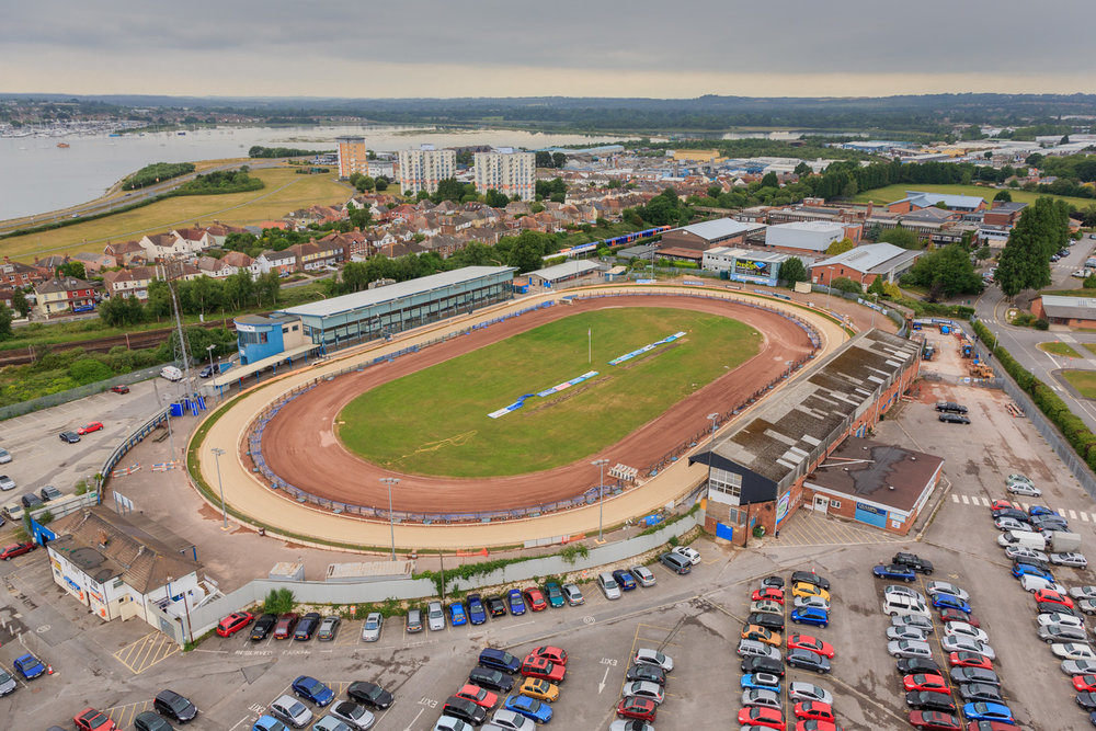 Poole Stadium by Rick McEvoy aerial photographer in Poole