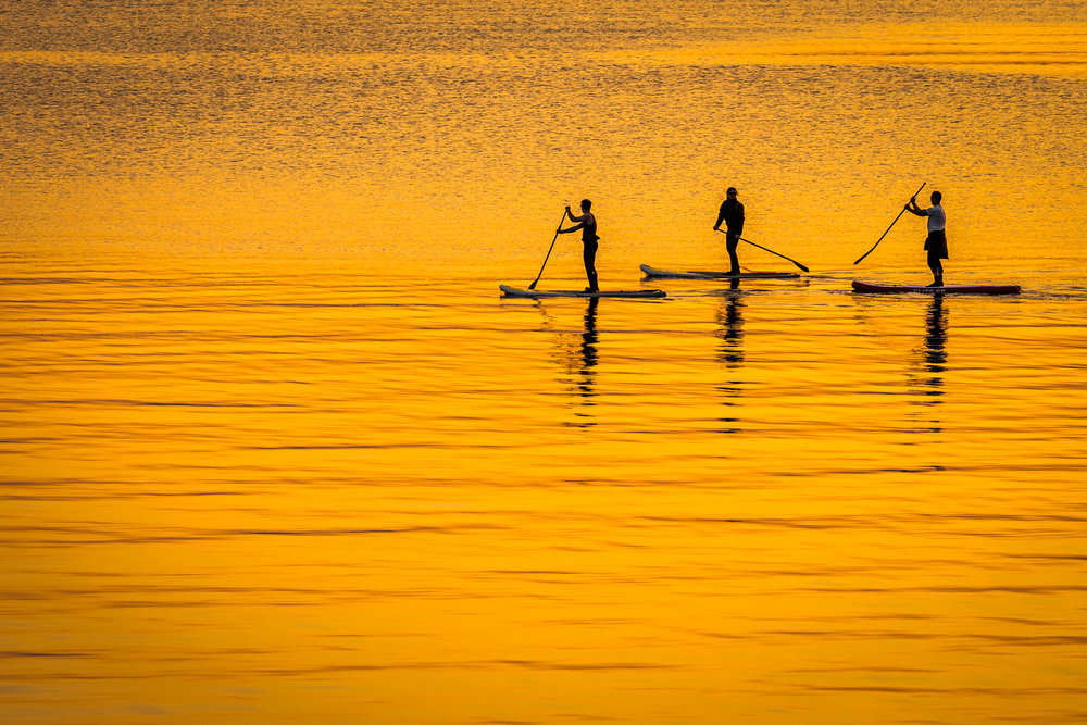Paddleboarders at sunset by Rick McEvoy Lifestyle photographer in Sandbanks