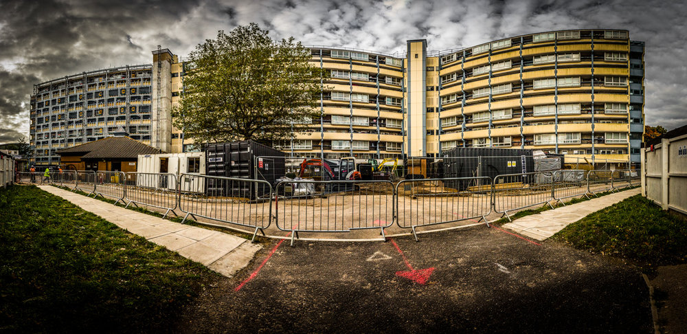 Panoramic picture of major refurbishment by construciton photographer Rick McEvoy