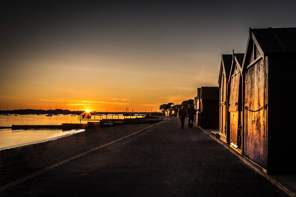 Hamworthy Beach Huts at sunset by Rick McEvoy Poole Photographer