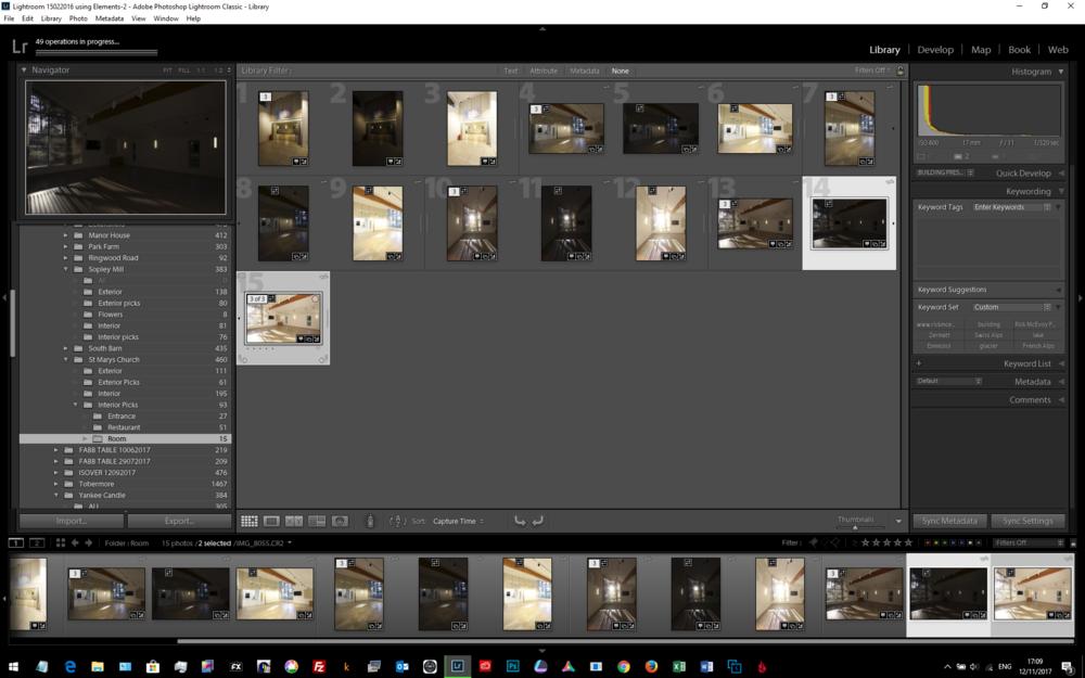 Screenshot of Lightroom Classic working very hard indeed