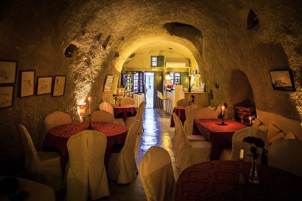 Photo of a wine bar interior, Santorini by Rick McEvoy Travel Photographer
