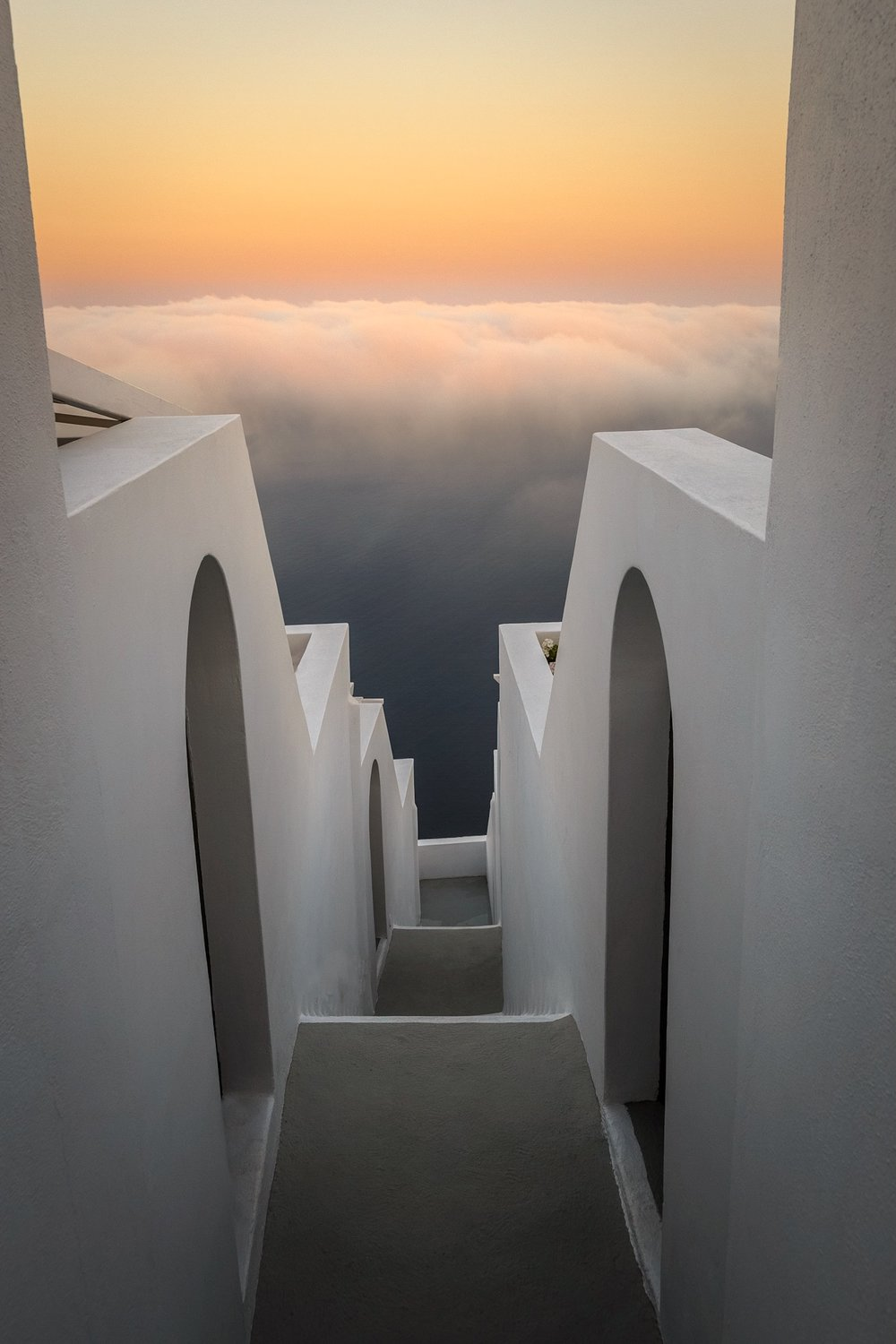 Sunrise over the morning clouds in Santorini