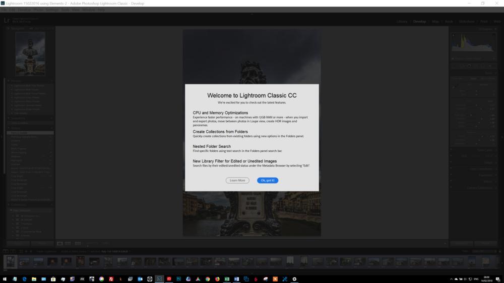 Lightroom Classic 7.2 welcome screen