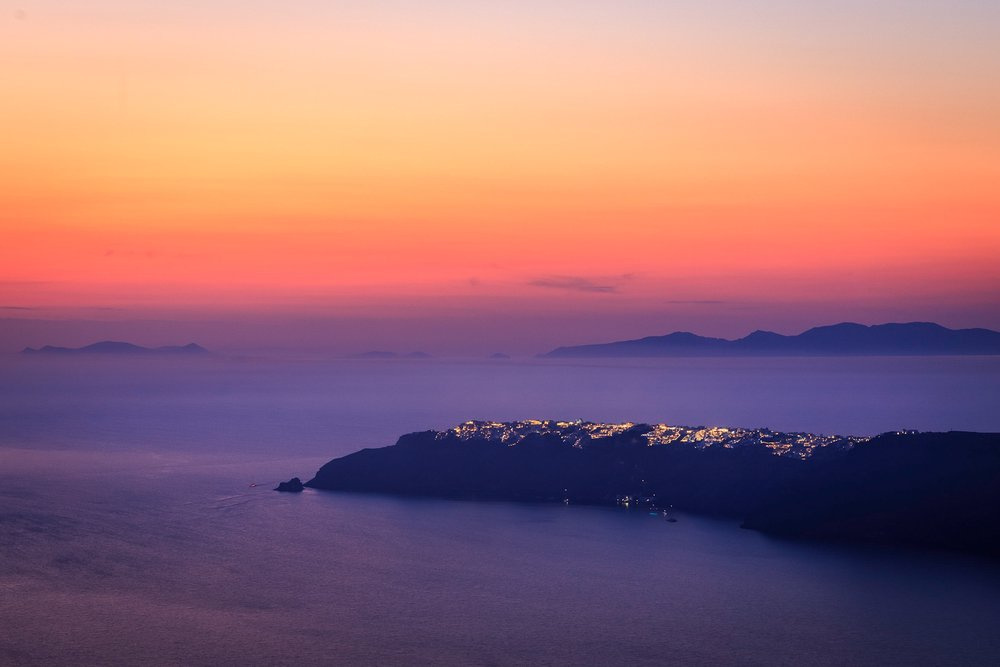 Sunset view of Oia from Imerovigli by Travel Photographer Rick McEvoy