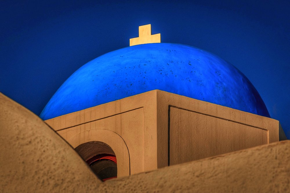 Santorini Church with a blue domed roof