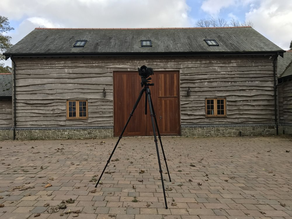 Manfrotto tripod on location on an architectectural photography shoot, Dorset