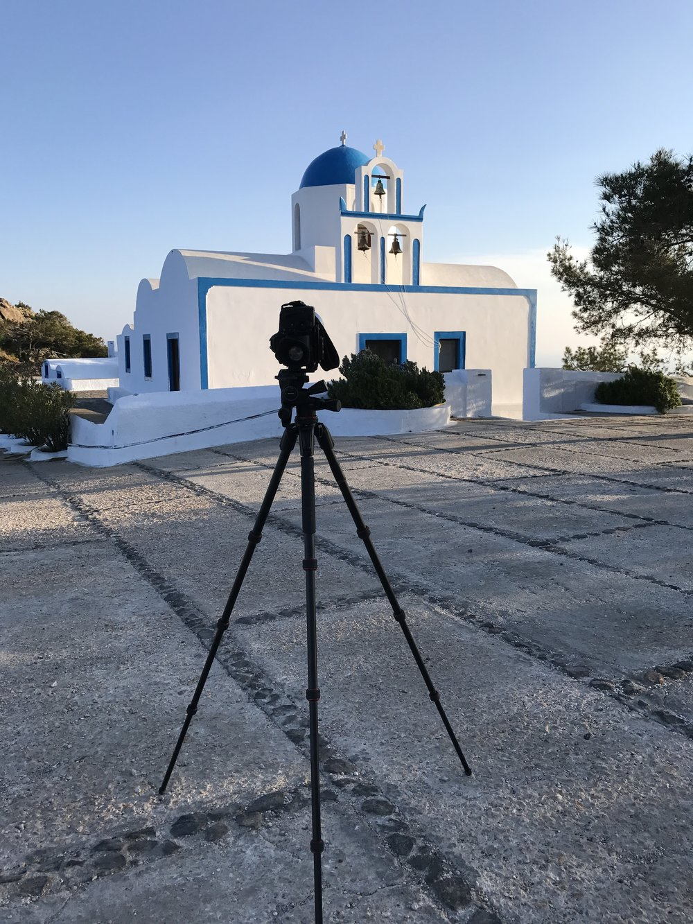 Manfrotto 190 Go tripod on location in Santorini