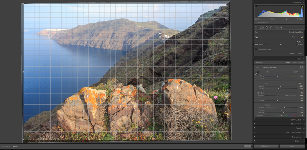 Cropping an image in Lightroom