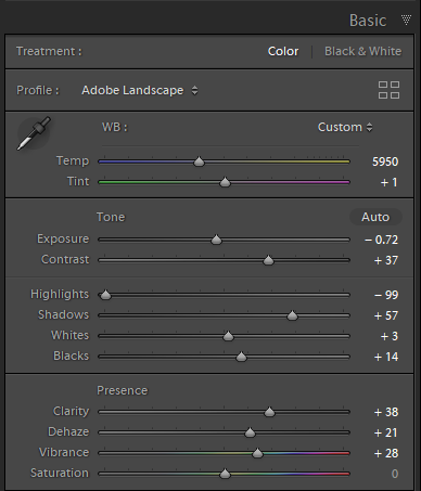 Adjustments in the basic panel in Lightroom Classic