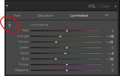 Luminance adjustment in the HSL Panel