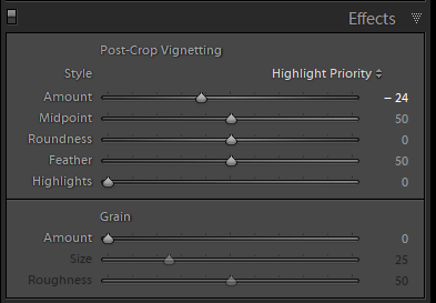 Applying a vignette in the effects panel in Lightroom