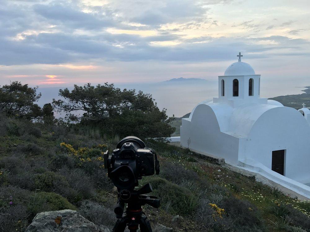 Photographing the sunrise on Santorini