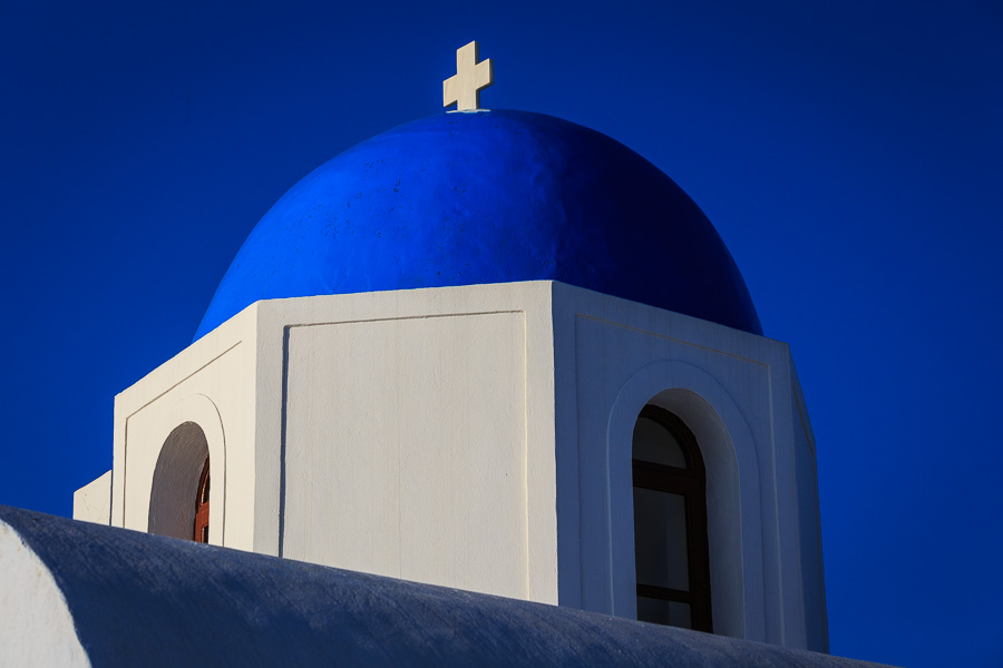 Blue domed church roof, Santorini, Greece