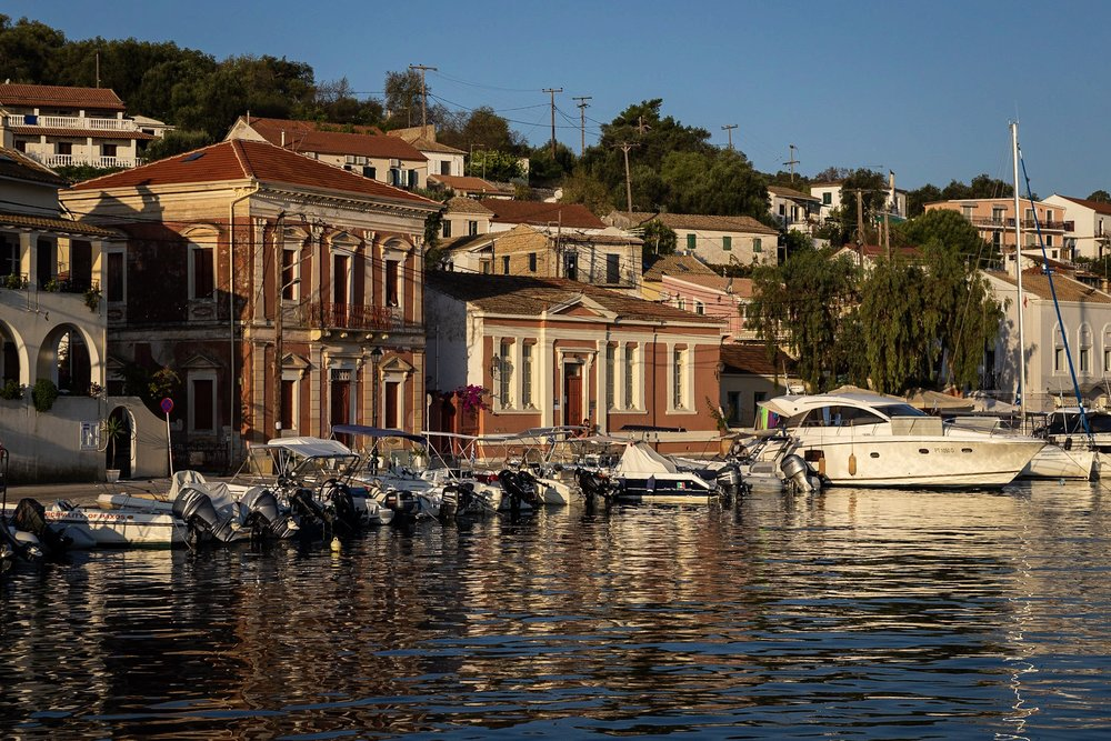 Early morning sunshine in Gaios on the Greek Island of Paxos