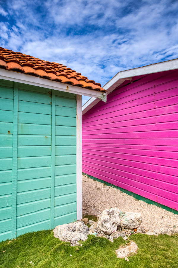 Close up of the colourful buildings of Barbados
