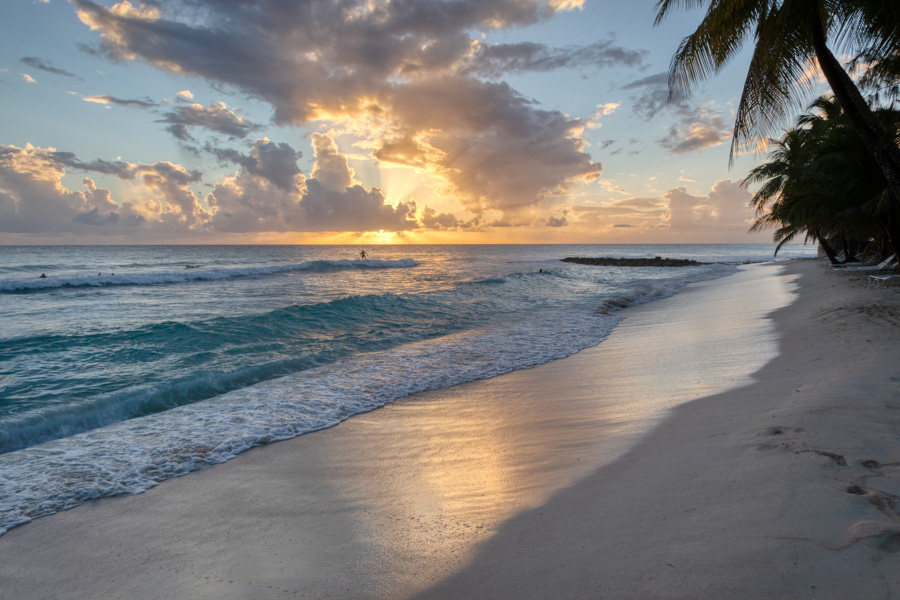 Sunset view of Dover Beach Barbados by Rick McEvoy