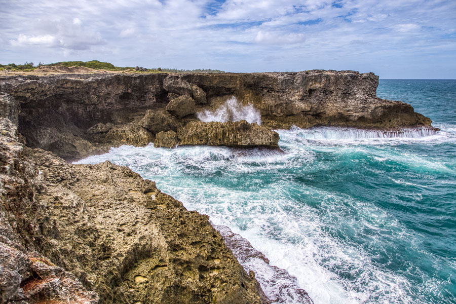 Waves crashing into the rocks near Animal Flower Cave