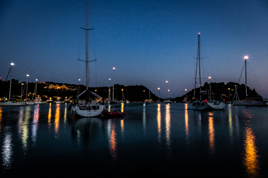 Boats moored overnight in Lakka on the Greek Island of Paxos
