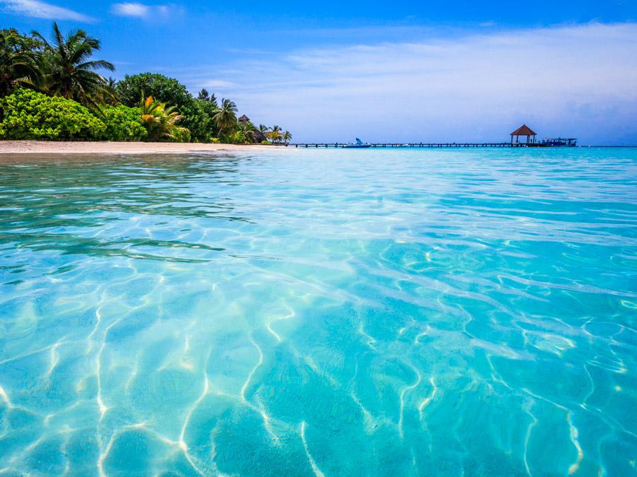 The crystal clear waters at Komandoo Island, Maldives