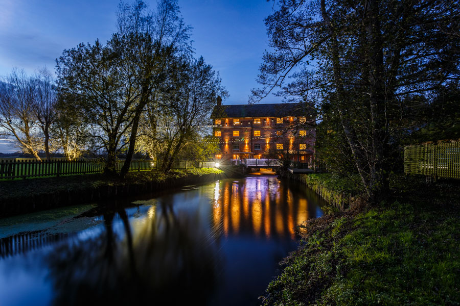 Sopley Mill at twilight - architectural photography in Dorset by