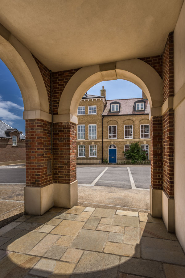 Street scene in Poundbury photographed for John Simpson Architec
